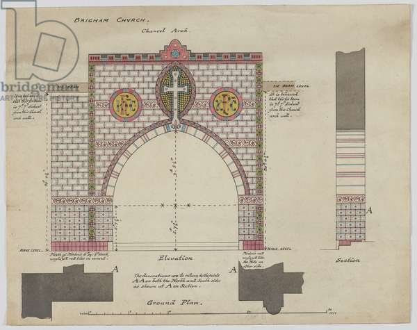 Design For Chancel Arch, Brigham Church, Cumberland, c.1876 (pen & ink and w/c on paper)