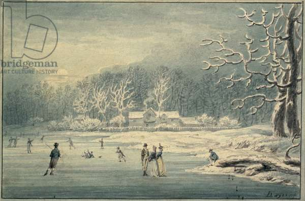 Hyde Park in the Snow, 1796 (pencil & w/c on paper)