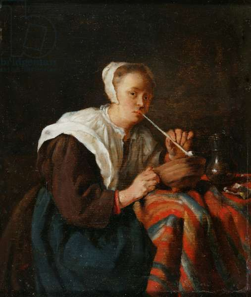 A woman seated smoking a pipe (oil on panel)