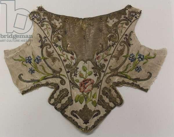 Stomacher, c.1730-50 (silk & linen)