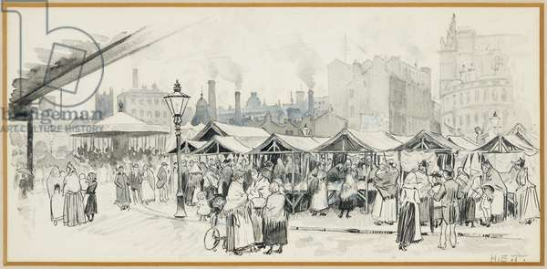 Flat Iron Market, Salford, 1893-94 (pencil and black ink on paper)