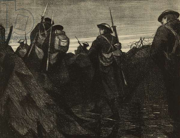 Reliefs at dawn, 1918 (litho)