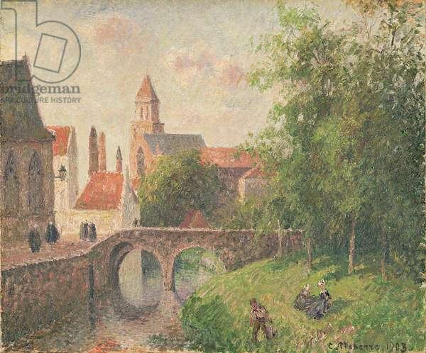 Old Bridge, Bruges (oil on canvas)