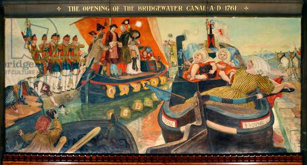 The Opening of the Bridgewater Canal AD 1761, 1879-93 (pigment, varnish, gum & wax on panel)