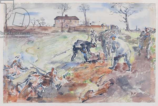 Grubbing And Burning A Hedge, 1942 (w/c, ink & pencil on paper)