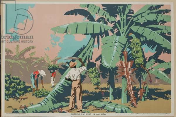 Cutting Bananas in Jamaica (colour litho)