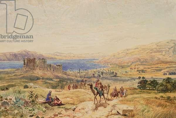 Tiberias on the Sea of Galilee, c.1850 (w/c on paper)