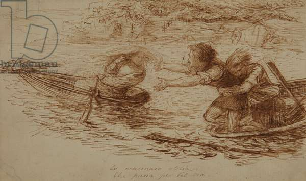 Boatmen and Siren, c.1853 (pen & ink on paper)