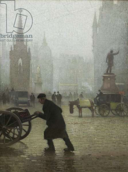 Albert Square, Manchester, 1910 (oil on canvas)