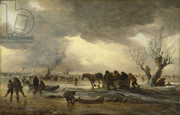 Winter scene with a sledge in the foreground and figures gathering round a tent on the ice, 1653 (oil on panel)