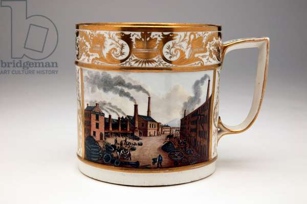 Porter Mug with an industrial scene depicting the Soho Foundry of Peel and Williams millwrights in Manchester, Derby, c.1820 (porcelain)