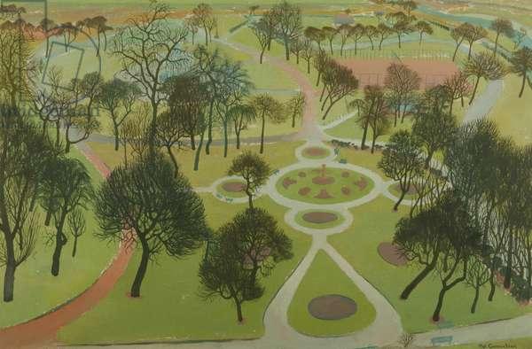 Peel Park, Salford (oil on cardboard)
