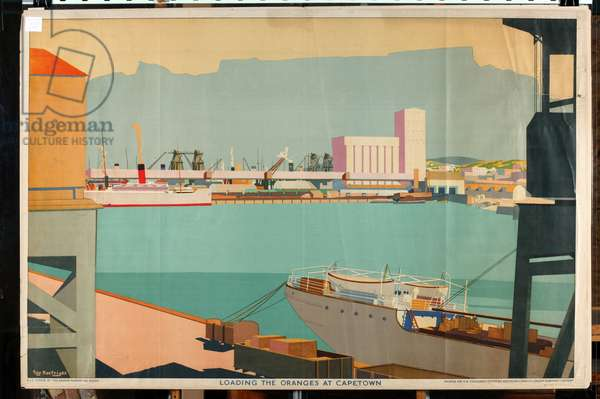 Loading the Oranges at Cape Town, from the series 'Summer's Oranges from South Africa' (colour litho)