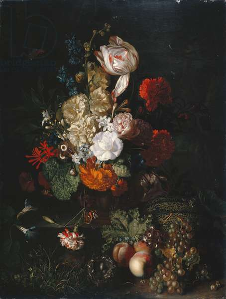 Still Life: Flowers and Fruit, c.1700-20 (oil on panel)