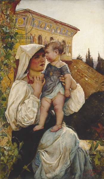 An Italian Mother and Child, 1886 (oil on canvas)