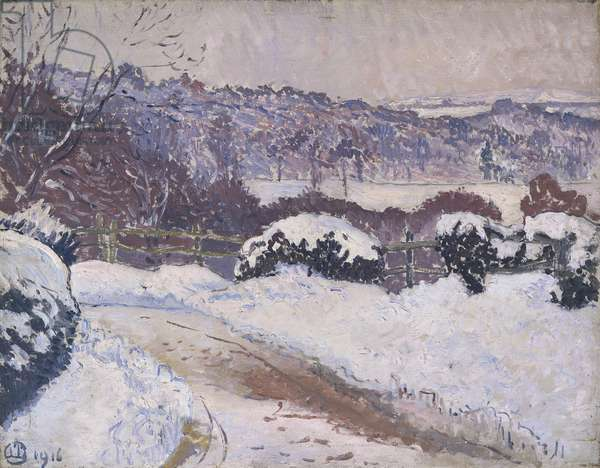 The Dorking Road, Coldharbour, in snow, 1916 (oil on canvas)