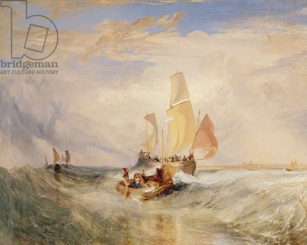 'Now for the Painter' (rope) - passengers going on board, 1827 (w/c on paper)