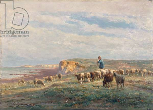 A flock of sheep (oil on panel)