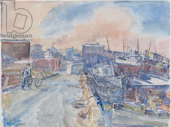 Reykjavik From Main Quay, Frosty Morning, Iceland, c.1930 (w/c & pencil on paper)