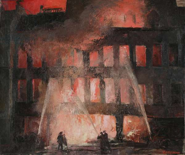 Auxiliary Fireman, Leonard Rosoman, Cheapside, 1940 (oil on canvas)