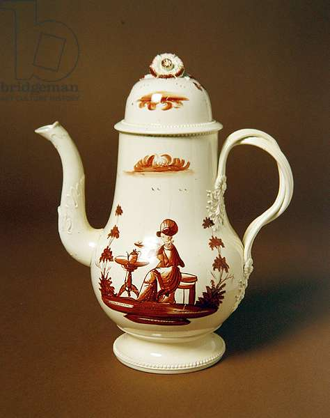 Coffee Pot, c.1770-80 (cream earthenware with red overglaze enamel)