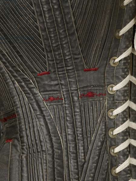 Corset (view N), 1840-50 (cotton, metal, leather & satin)