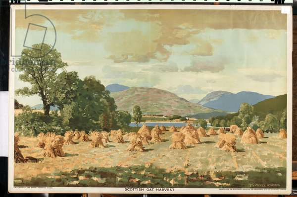 Scottish Oat Harvest, from the series 'Home Countries First' (colour litho)