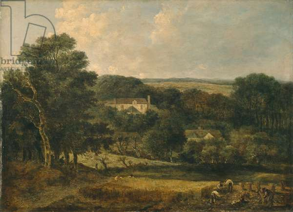 View Near Norwich With Harvesters, 1810-21 (oil on panel)