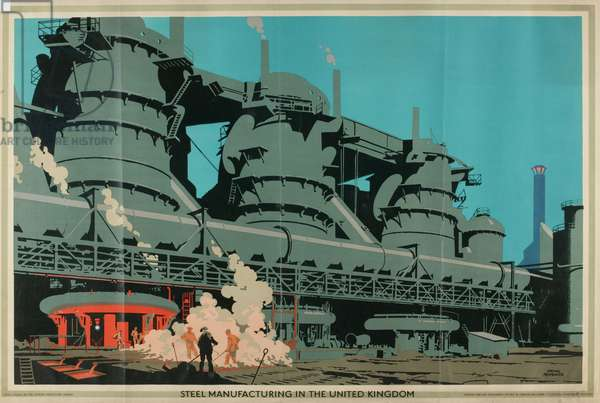 Steel Manufacturing in the United Kingdom, from the series 'Empire Buying Makes Busy Factories', 1930 (colour litho)
