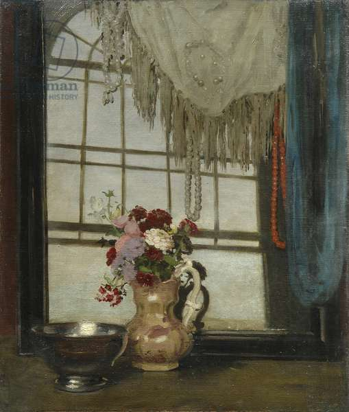 Zinnias and a Lustre Bowl, 1912 (oil on canvas)