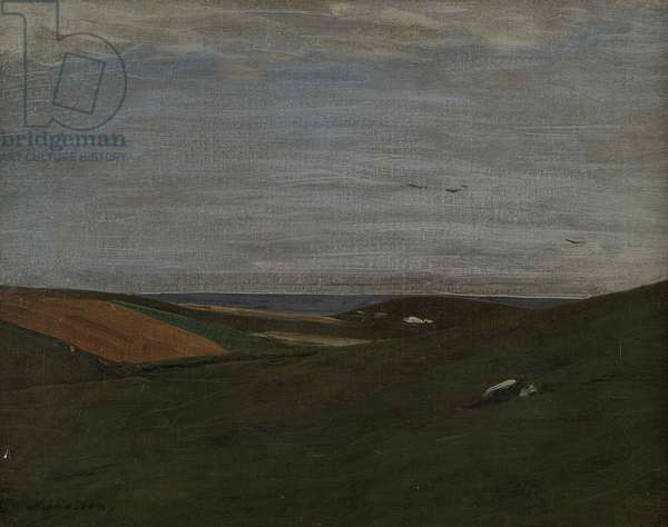 On the Downs, Rottingdean, 1910 (oil on canvas)