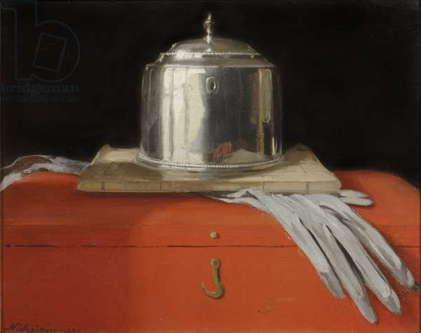 The Silver Casket and Red Leather Box, 1920 (oil on panel)