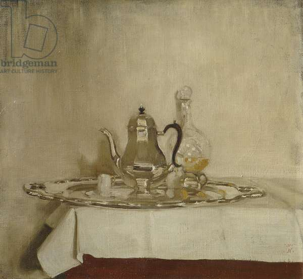 Silver Coffee Pot on a Silver Tray, 1918 (oil on canvas)