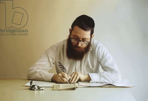 Torah Scribe III, 2003 (oil on canvas)