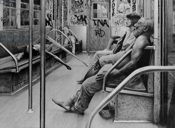 Subterraneans, 1990 (graphite and chalk on paper) (b&w photo)