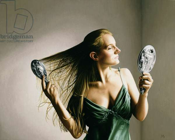 Woman Brushing Her Hair III, 2001 (oil on panel)