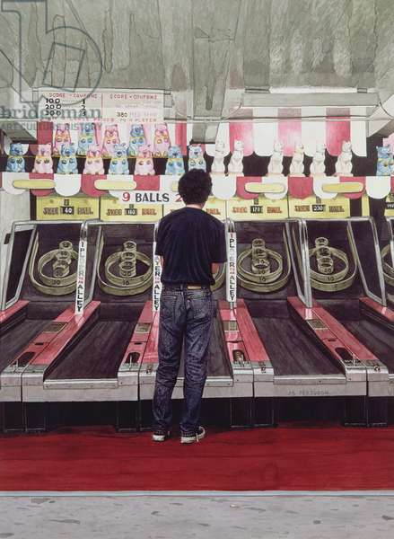 Skee Ball, Self Portrait (Coney Island) 1990 (ink wash on paper) (see also 138478)