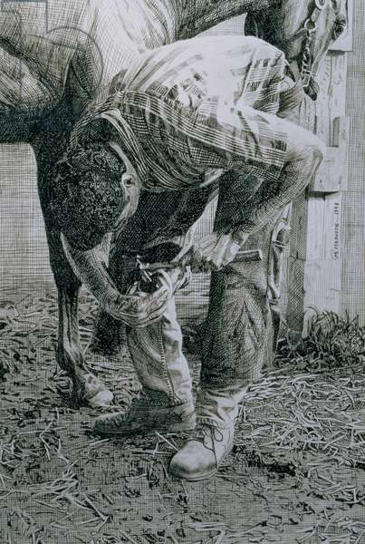 Farrier, Saratoga, 1998 (pen & ink on paper)