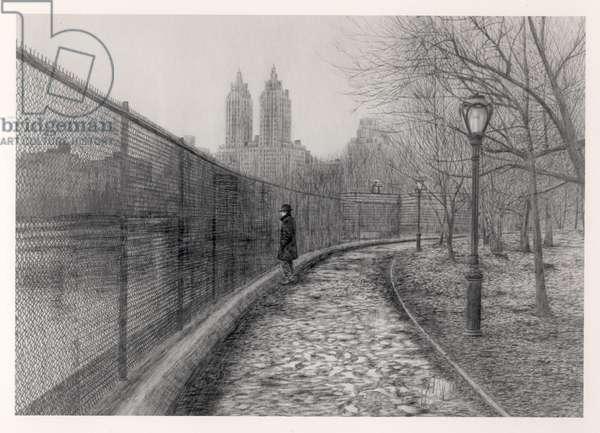 Reservoir Self Portrait, 1988 (graphite on paper) (b&w photo)