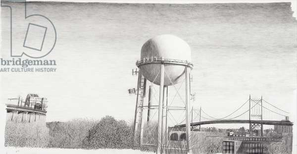 View of Bridges, 2003 (pencil on paper)