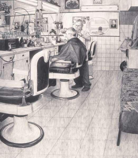 Barbershop II, 2010 (graphite on paper)