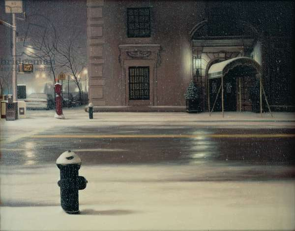 East 72nd Street Snow, 1992 (oil on canvas)