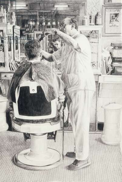 Barber Shop II, 2003 (pencil on paper)