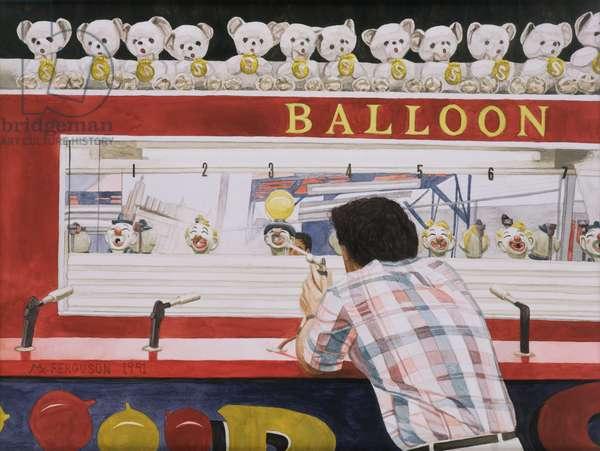 Ken versus the Balloon, 1990 (w/c on paper)