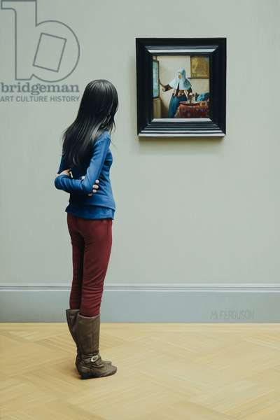 Girl with Vermeer, 2014 (oil on panel)