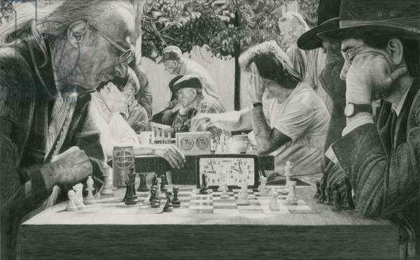 Chess Players, Washington Square Park, 1990 (graphite on paper)