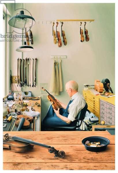 Violin Repair Shop, 2013 (oil on panel)