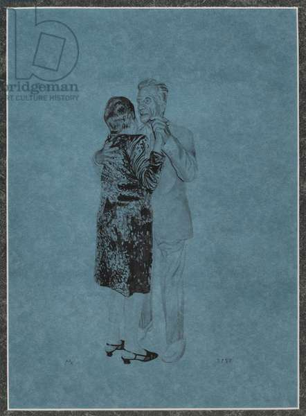 My Parents Dancing on their Fiftieth Wedding Anniversary II, 1998 (ink wash on blue paper)