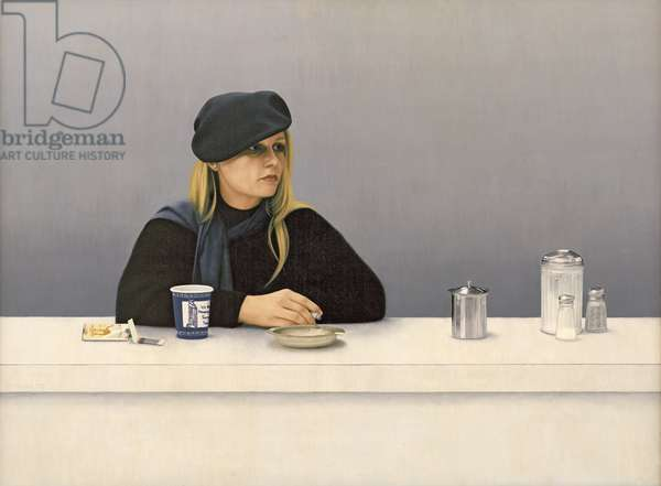 Woman in a Coffee Shop, 1982 (oil on panel)