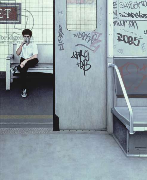 Self Portrait in Subway I, 1983 (oil on panel)